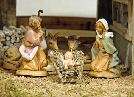 Crib with the nativity scene with figurines Stock Photo - 16626230