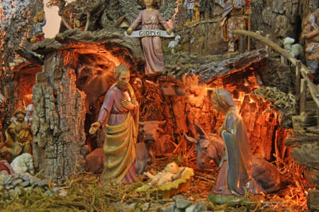 italian Crib with the nativity scene with figurines Stock Photo - 16625856