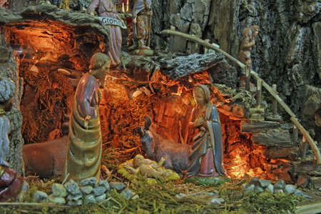 italian Crib with the nativity scene with figurines photo