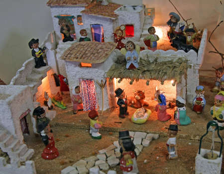 Crib with the nativity scene with figurines in spain Stock Photo - 16626258
