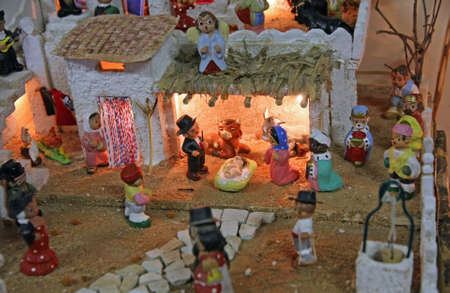 Crib with the nativity scene with figurines in mexico Stock Photo - 16625834