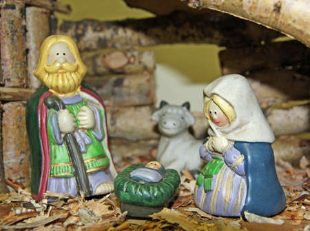 Crib with the nativity scene with figurines Stock Photo - 16625827