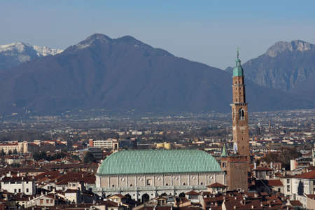 Panorama of the Italian city of vicenza with the Basilica and the high tower Stock Photo - 16704763