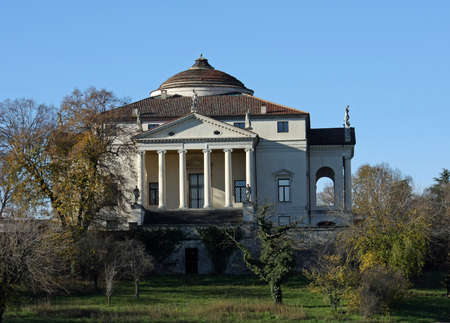 historic Italian Palladian villa called La Rotonda over the Hill in vicenza Stock Photo - 16704760