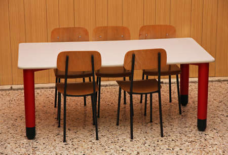 chairs and a table in the refectory of the preschool photo