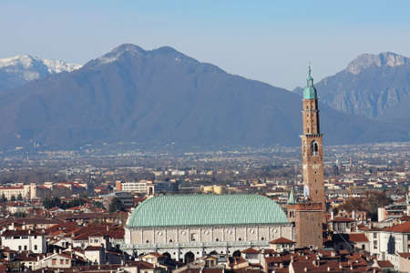 Panorama of the Italian city of vicenza with the Basilica and the high tower Stock Photo - 17661287