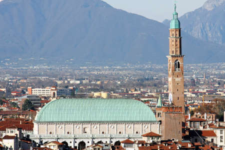 Panorama of the Italian city of vicenza with the Basilica and the high tower photo