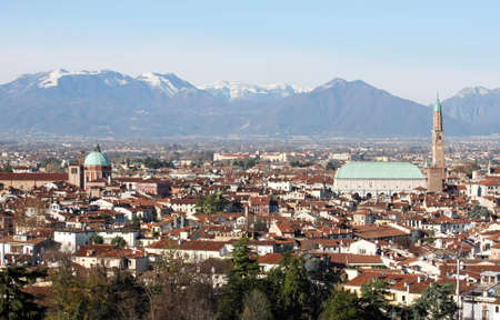 population growth: Panorama of the Italian city of vicenza with the Basilica and the high tower Stock Photo