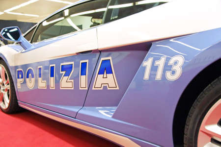 very fast car of italian police to transportation of organs
