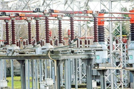 isolator insulator: substation with big switches and breakers to operate the electric current