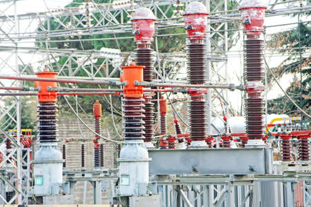 electric current: substation with switches to operate the electric current