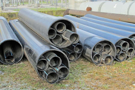 piles of plastic pipes and conduits for transporting water and gas Stock Photo - 17793037