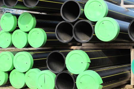 piles of plastic pipes and conduits for transporting water and gas Stock Photo - 17793020