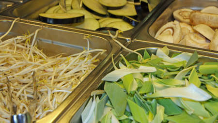 raw bean sprouts and bamboo in Asian restaurant for sale photo