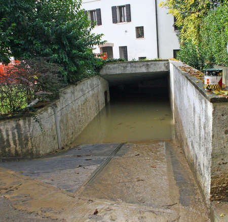 invaded: access ramp to the underground garages completely invaded by water after the flood