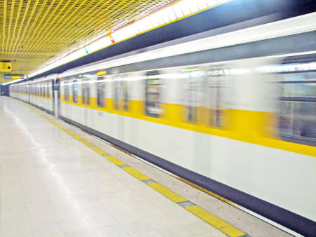 Metro travel very fast in Milan in italy