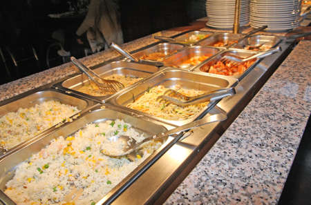 tray with  spaghetti or rice in the company canteen photo