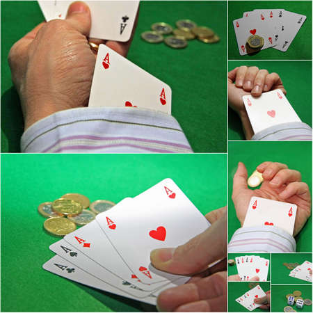 punter: gaming table during a poker game with the cheater
