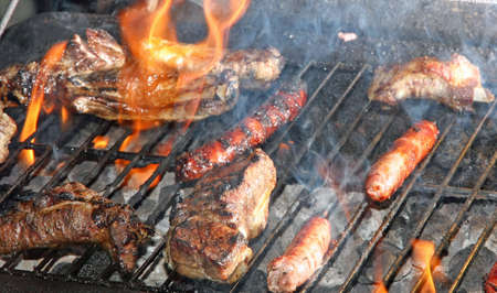 red heifer: grilled pork during a barbecue in the garden