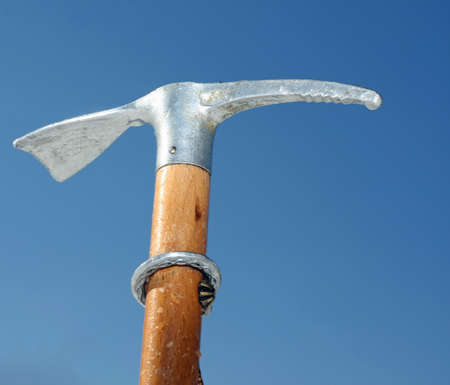 ice axe: ice axe for professional ice climbing with sturdy wood handle