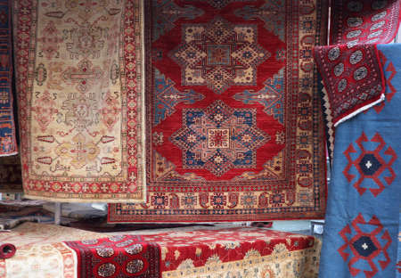 resale: street stall with resale of ancient Persian carpets