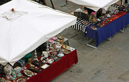 resale: stalls of antique and vintage market in the main square of the city of vicenza in Italy Stock Photo