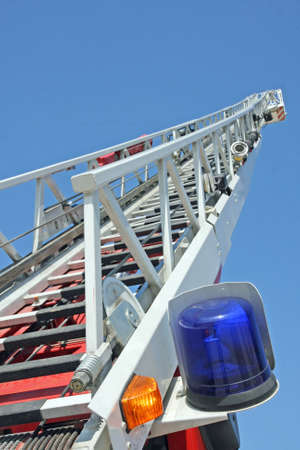 stair riser and blue truck Siren of firefighters during an emergency photo