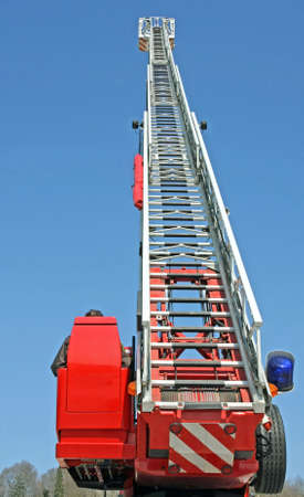 stair riser and blue truck Siren of firefighters during an emergency in the city photo