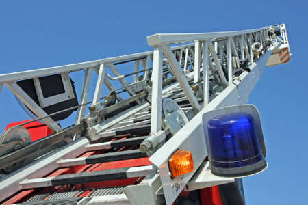 highest platform of a fire truck during a practice session in the Firehouse photo