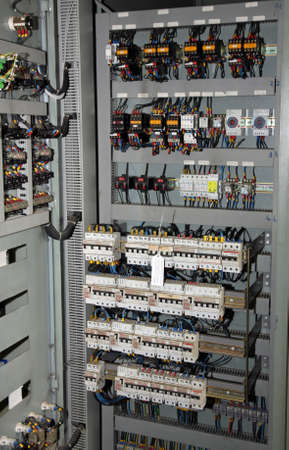 fuses and switches ammeters and measuring instruments in an industrial electrical panel Stock Photo - 18571234