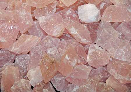 rose quartz crystals and other minerals for sale at flea market Stock Photo - 18675156