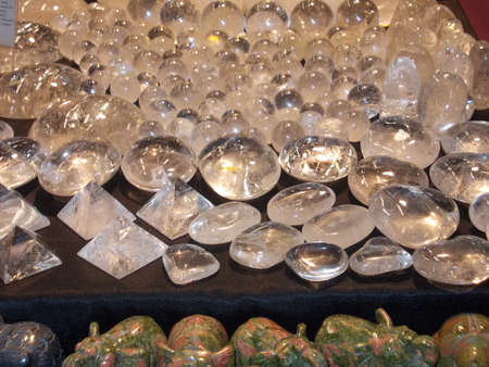 furnishings: ornaments and furnishings and good luck worked in marble and bakelite for sale at flea market Stock Photo