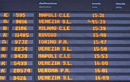 cuadro sinoptico: Horarios de la Junta de llegadas y salidas de los trenes en una estación de trenes en Italia