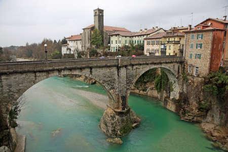 famous Devil's bridge on the NATISONE River that crosses the city of Cividale del friuli in Italy Foto de archivo