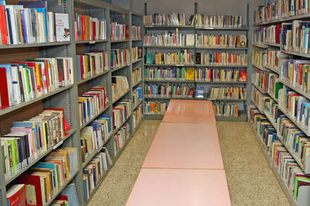public library: public library with many books to borrow Editorial