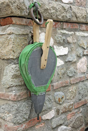 fireplace bellows: antique wood and leather bellows to stoke the fire by coals