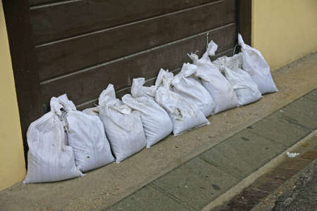 sandbags to protect against flooding of the River during the flood photo