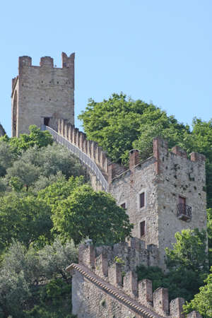 ancient castle of the medieval walls of Marostica with towers