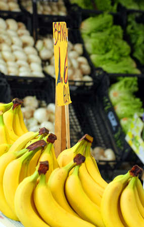 yellow banana and fresh fruit for sale at vegetable market photo