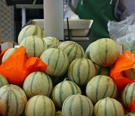 mature melons just picked up for sale by grocery store photo