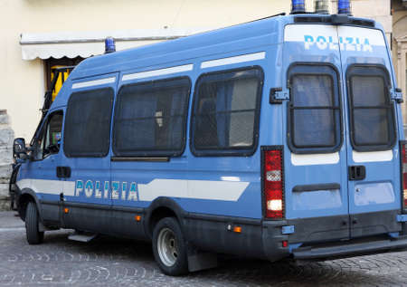 Armored van of the Italian police involved in a checkpoint in a town Stock Photo - 19918264