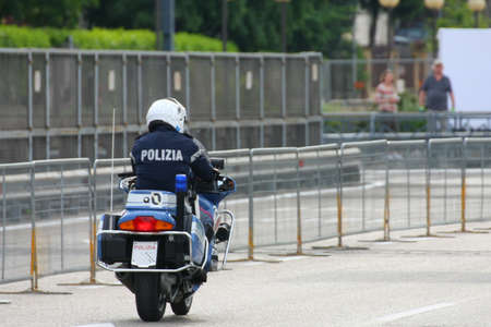 Italian State police motorcycle runs fast on the road to an emergency Stock Photo - 19918209