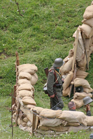 sandbag: Sentinel soldiers inside the Fort made with sandbags