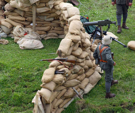 sentinel: Sentinel soldiers inside the Fort made with sandbags