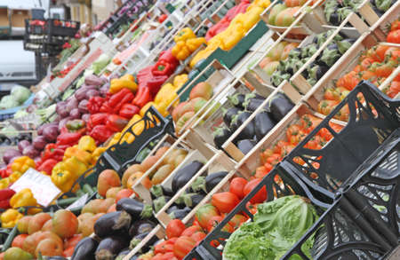 boxes full of fresh fruits and vegetables and seasonal fruit and vegetable market at retail and wholesale 3 Stock Photo