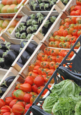 boxes full of fresh fruits and vegetables and seasonal fruit and vegetable market at retail and wholesale 4 photo