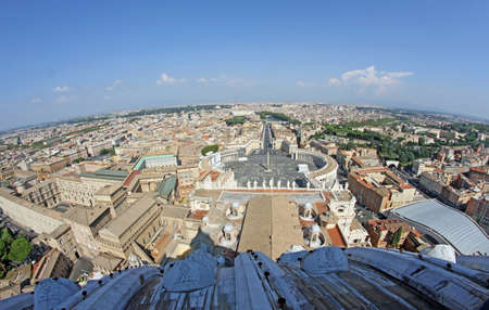 incredible fish eye panoramic view of the city of Rome from above the dome of the Church of San Pietro in Vaticano