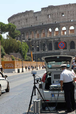 italian Police patrol for speed control in Via dei Fori imperiali in Rome