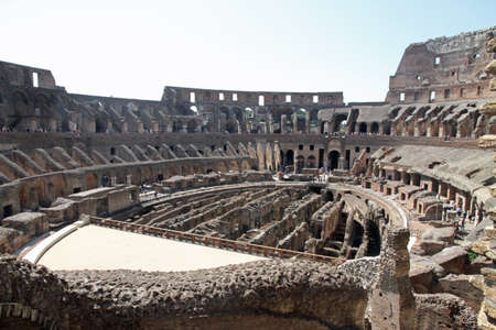 spectacular interior of the Colosseum ancient Roman amphitheatre where brave Gladiators fought  Editorial