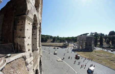 Colosseum and Arch of Constantine in Rome, Italy